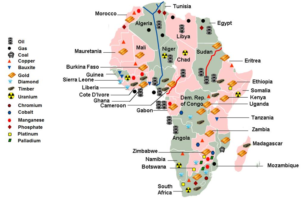 Map Of Africa Natural Resources Deboomfotografie - Map of egypt's natural resources